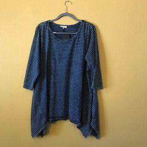 Tops - Women's Plus Size 3/4 Sleeve Handkerchief Shirt 2X